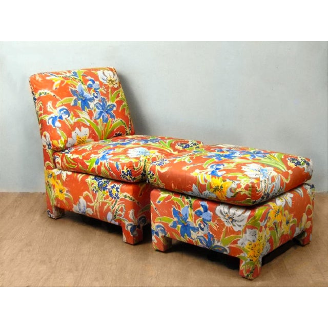 Final Markdown Blue Lillies With Sunshine Custom Chair & Ottoman - a Pair - Image 3 of 3