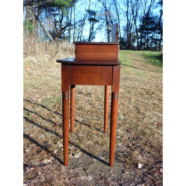 Antique 1840's Sheraton 2 Drawer Stand Desk Vanity Entry Table New England For Sale - Image 4 of 13