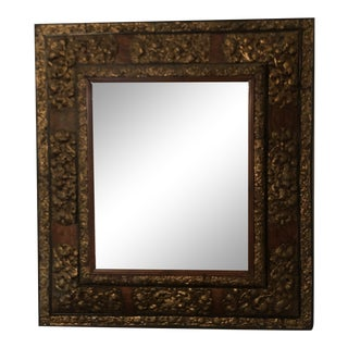Vintage Florentine Wood Carved Gilded Mirror For Sale