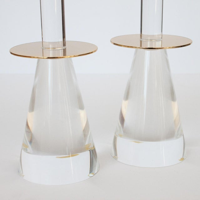 Lucite & Brass Candlesticks - A Pair - Image 7 of 8