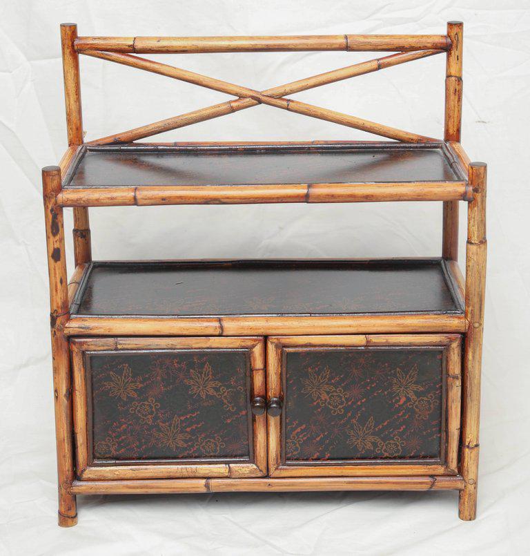 Asian bamboo wood cabinet