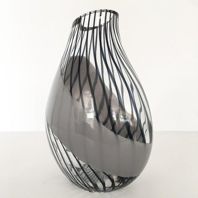 Livio Seguso Striped Murano Art Glass Vase For Sale - Image 9 of 13