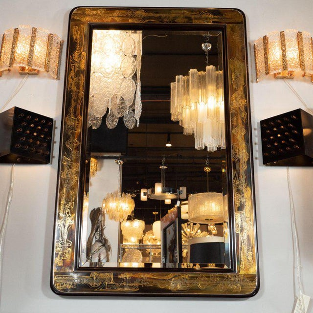 1970s Mid-Century Modern Acid Etched Brass Mirror by Bernard Rohne for Mastercraft For Sale - Image 5 of 6