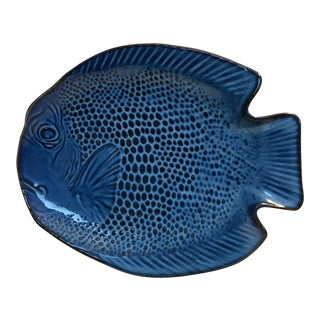 Vintage Mid-Century Cobalt Blue Ceramic Fish Platter For Sale