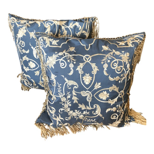 Big Silk Periwinkle Blue and Cream Ralph Lauren Embroidered Pillows -A Pair For Sale