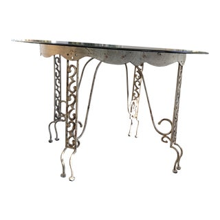 Wrought Iron Glass Top Round Table For Sale