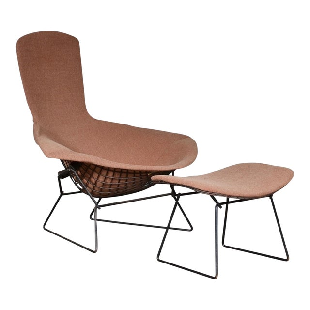 1960s Vintage Early Harry Bertoia for Knoll Bird Chair & Ottoman For Sale