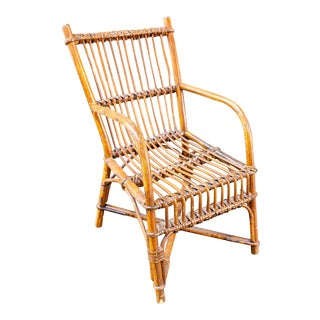 Vintage French Children's Rattan Chair For Sale
