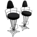 Image of Pair of Mid Century Highback Wrought Iron Swivel Counter Stools For Sale