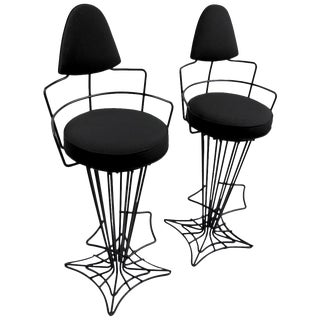 Pair of Mid Century Highback Wrought Iron Swivel Counter Stools For Sale