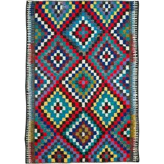 "Vintage Persian Flatweave Kilim Rug – Size: 5' 7"" X 8"" For Sale"