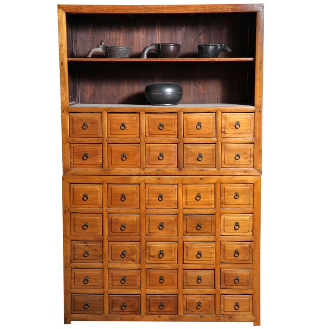 outlet store 9ab8d 761a7 19th Century Chinese Elm Apothecary Cabinet of Elmwood with Multiple Drawers