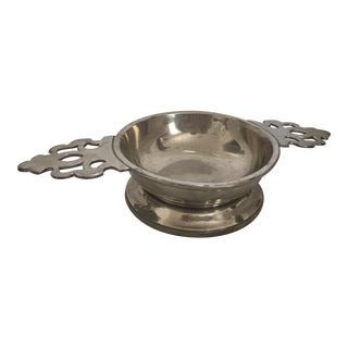 1960s Double Handle Pewter Porringer For Sale