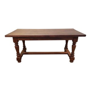 Massive Solid Antique French Farmhouse Oak Refectory Farmhouse H-Stretcher Dining Table For Sale