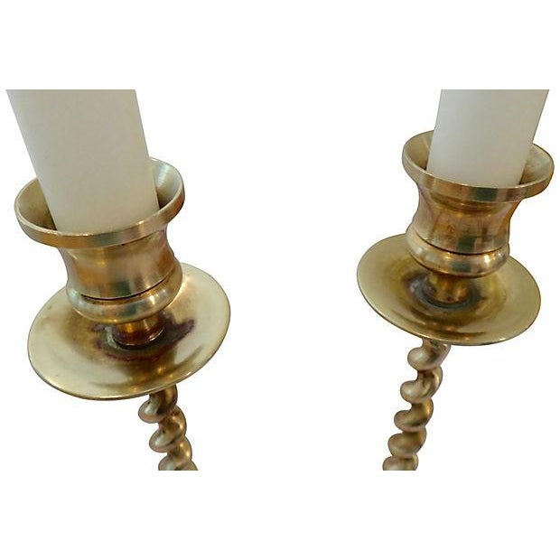 Brass Twisted Base Candle Sticks - Pair - Image 5 of 5