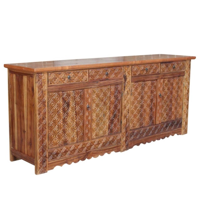 Diamond Carved Enfilade Teak Wood Buffet - Image 5 of 9
