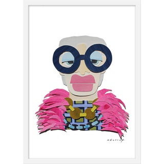 """Medium """"Iris in Plaid With Pink Feathers"""" Print by Melvin G., 19"""" X 25"""" For Sale"""