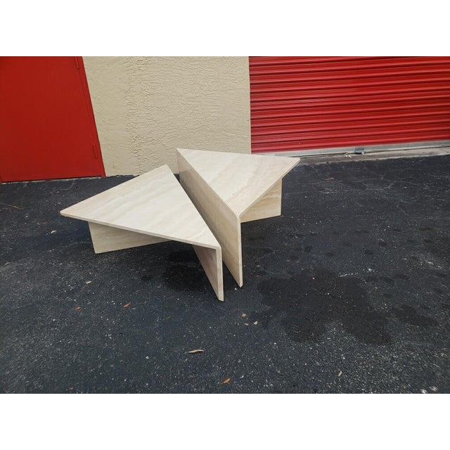 Post-Modern Italian Travertine Coffee Table - 2 Pieces For Sale - Image 9 of 9