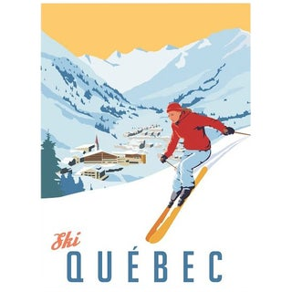 2012 Modern Retro Travel Poster - Ski Quebec For Sale