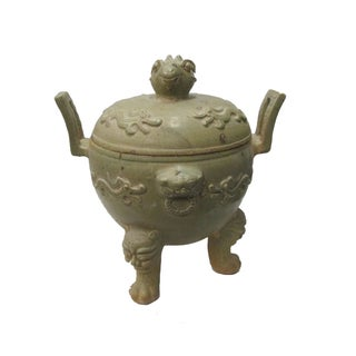 Vintage Chinese Clay Pottery Ding Display Art For Sale