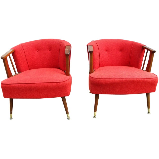 Mid-Century Lounge Chairs in Red - A Pair - Image 1 of 7