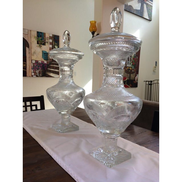 American Brilliant Period Covered Crystal Jars - a Pair 27'' H For Sale - Image 9 of 9