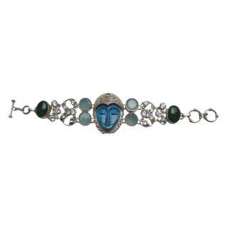 Sterling Artisan Semi Precious Face Bracelet For Sale
