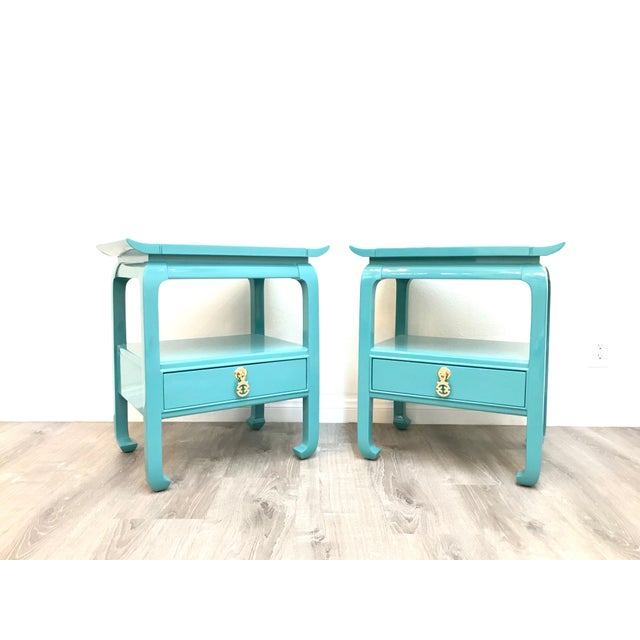 Pair of Beautiful mid century Kent Coffey end tables/nightstands newly refinished, semigloss Laquered finish looks and...