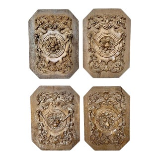 Set of Four 19th Century French Walnut Carvings For Sale