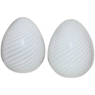 "Itri Vetri Murano Hand Blown Swirl White Art Glass ""Egg"" Table Lamps - a Pair For Sale"