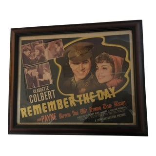 1941 Claudette Colbert Remember the Day Movie Poster