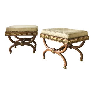 Pair of Possibly Russian Empire Style Rosewood Stools For Sale