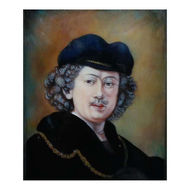 Faure Limoges - Rembrandt Self Portrait - French Enamel Painting on Copper For Sale