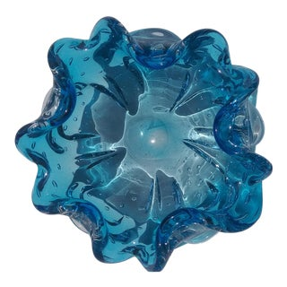 1980s Murano Blue Bowl For Sale