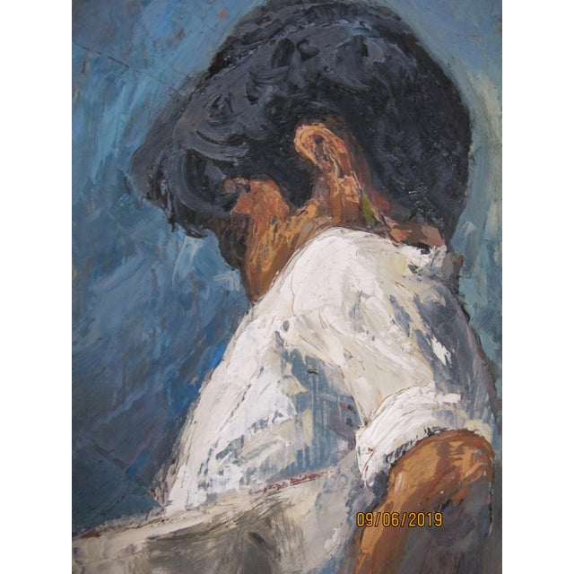 1970s Vintage John Fulton Short Boy Matador With Newspaper Oil Painting For Sale - Image 4 of 9