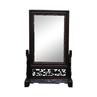 Antique Carved Chinese Table Mirror Screen For Sale