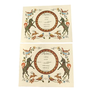Vintage Birth Certificate Record Prints - a Pair For Sale