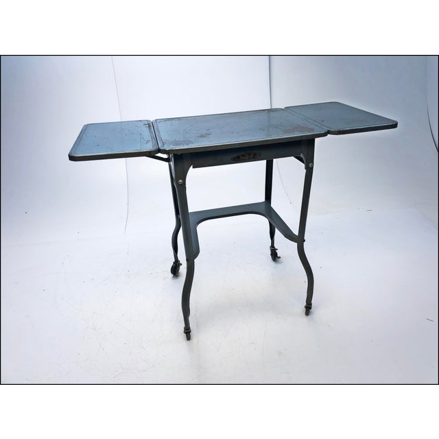 Vintage Industrial Gray Metal Typewriter Table with Double Drop Leaf For Sale - Image 13 of 13