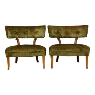 Hollywood Regency Slipper Chairs Style of Lorin Jackson for Grosfeld House - a Pair For Sale