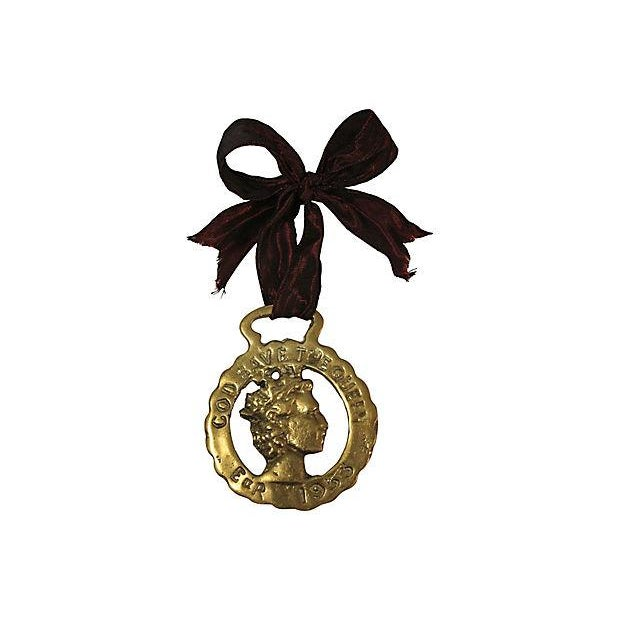 1953 Queen Elizabeth II Coronation Brass Ornament - Image 2 of 3