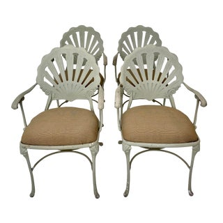 Vintage Cast Aluminum Shell Arm Chairs-Set of 4 For Sale