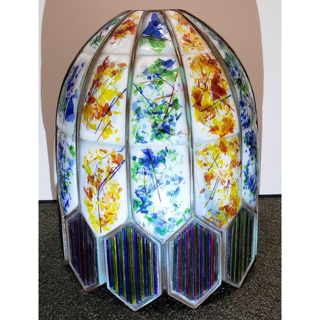 White Mid 20th Century American Leaded Confetti Glass Paneled Lamp Shade For Sale - Image 8 of 8