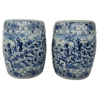 Pair of Chinese Blue and White Garden Seats For Sale