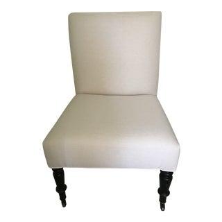 Napoleon III Slipper Chair in Cream Linen For Sale