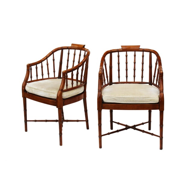 Hekman Faux Bamboo Chippendale Style Armchairs - a Pair For Sale - Image 6 of 10