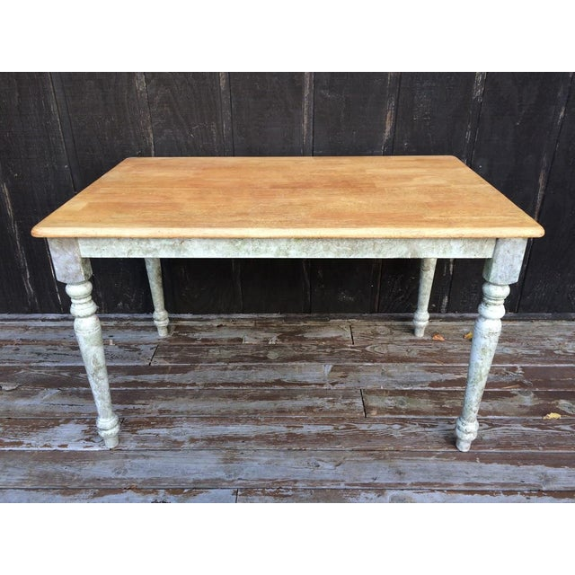 Shabby Chic Farm Table - Oak Top For Sale - Image 11 of 11