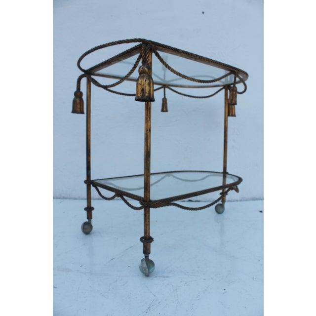Italian Hollywood Regency Gilt Metal Bar Cart - Image 5 of 9
