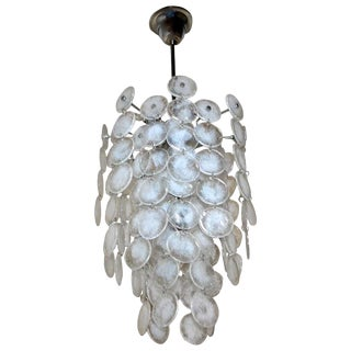 Murano Mazzega Cascading Clear and White Glass Disk Chandelier For Sale