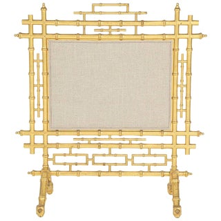1970s Faux Bamboo Fireplace Screen For Sale