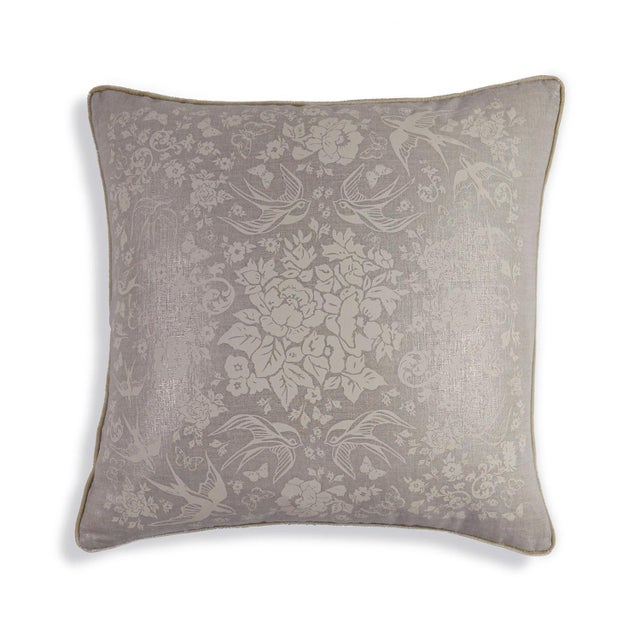 """20"""" pillow in delicate metallic silver linen trimmed with cream velvet piping. French roses, swallows and butterflies..."""